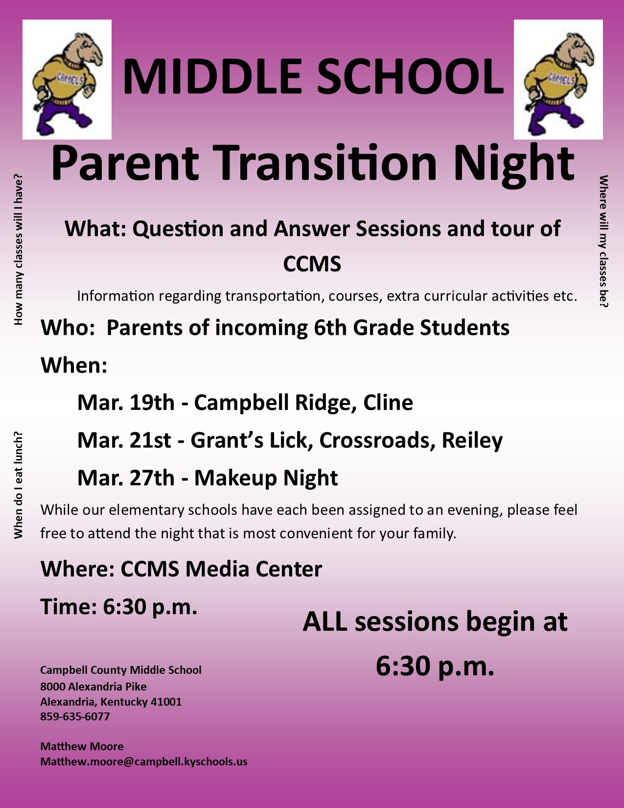CCMS Transitition nights